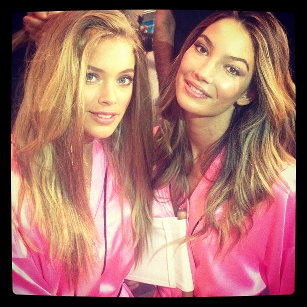 Doutzen Kroes and Lily Aldridge hung out backstage in their hot pink robes at the Victoria's Secret Fashion Show. Source: Instagram user doutzenkroes1
