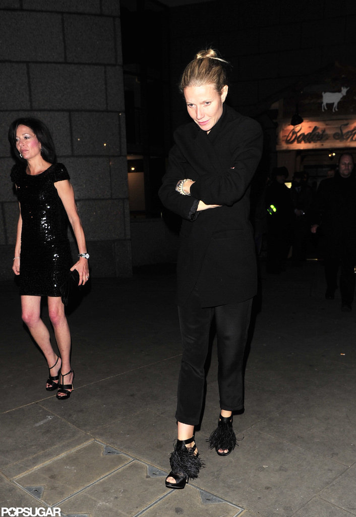 Gwyneth Paltrow wore all black to celebrate the opening of Gambit in London.