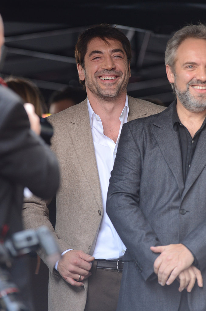 Javier Bardem joked around with friends before the ceremony.