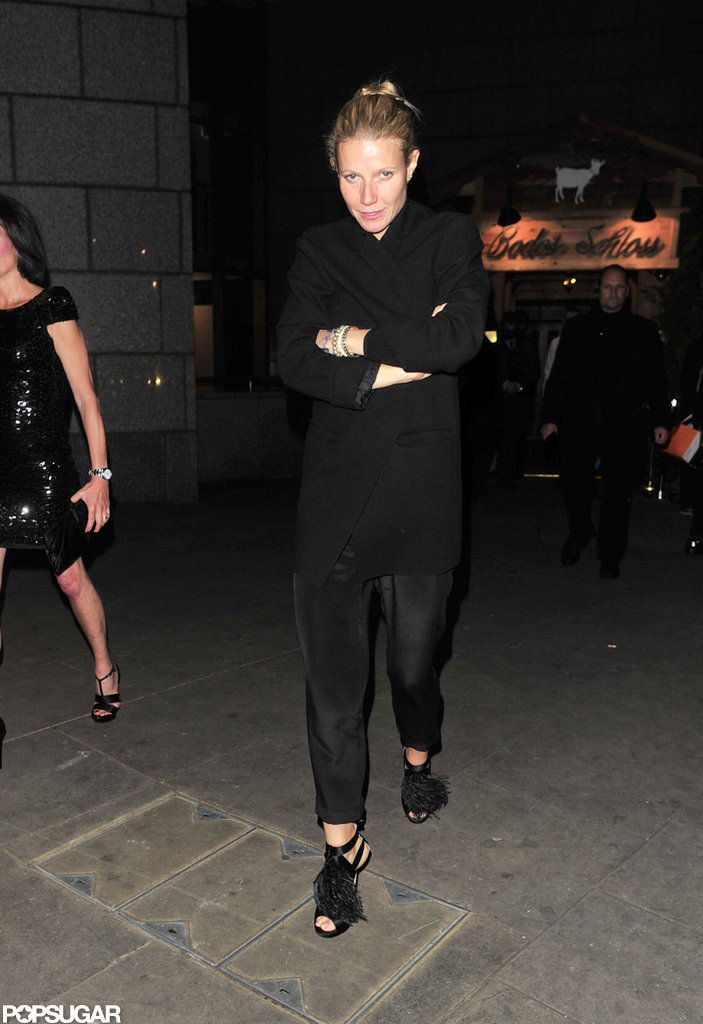 Gwyneth Paltrow stepped out in black pants in London.