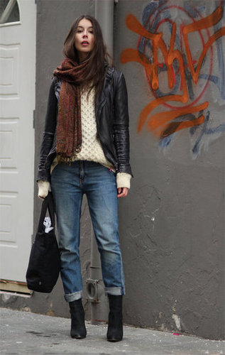 A cozy sweater and scarf give seasonal warmth to boyfriend denim and on-trend ankle boots. Source: Lookbook.nu