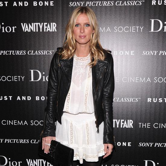 Nicky Hilton Wearing White Dress and Black Leather Jacket