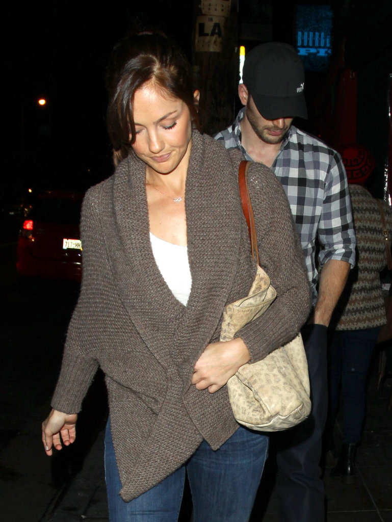 Minka Kelly and Chris Evans headed home.