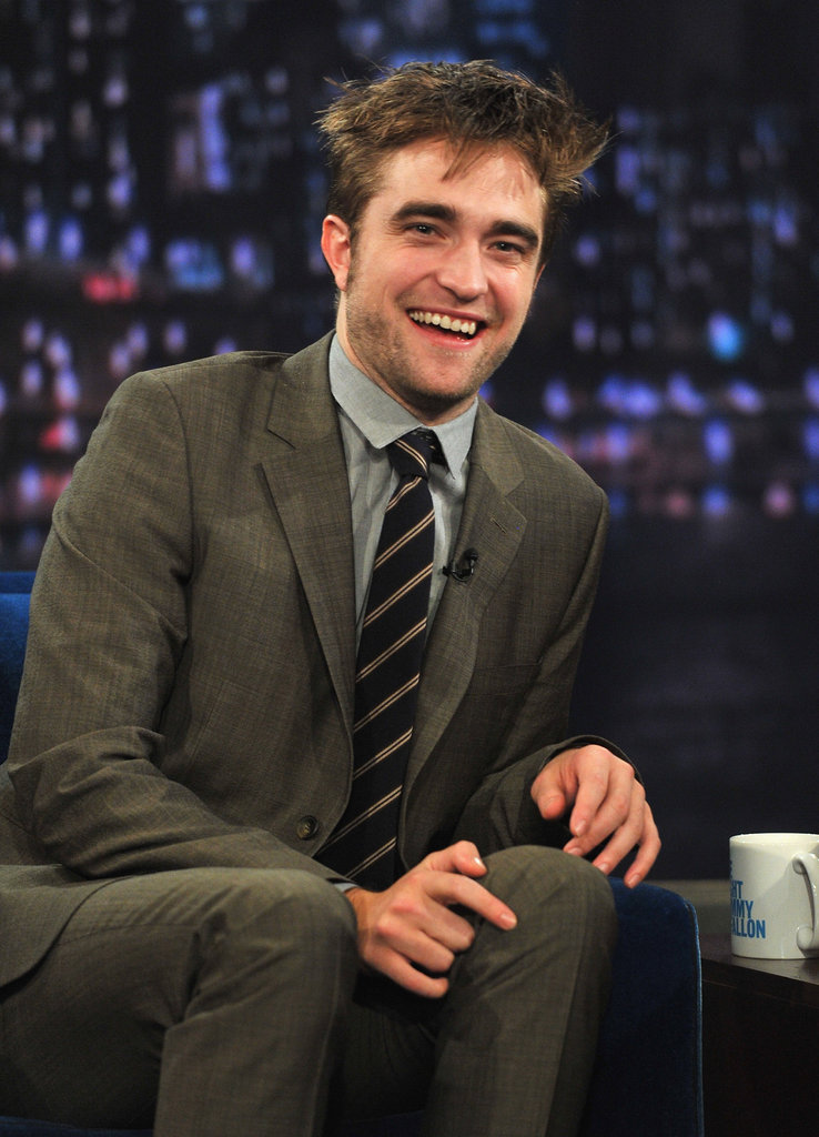 Robert Pattinson laughed while filming Late Night With Jimmy Fallon in NYC.