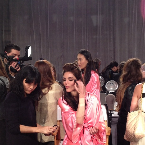 We got a sneak peek at Hilary Rhoda getting glam for the Victoria's Secret Fashion Show!