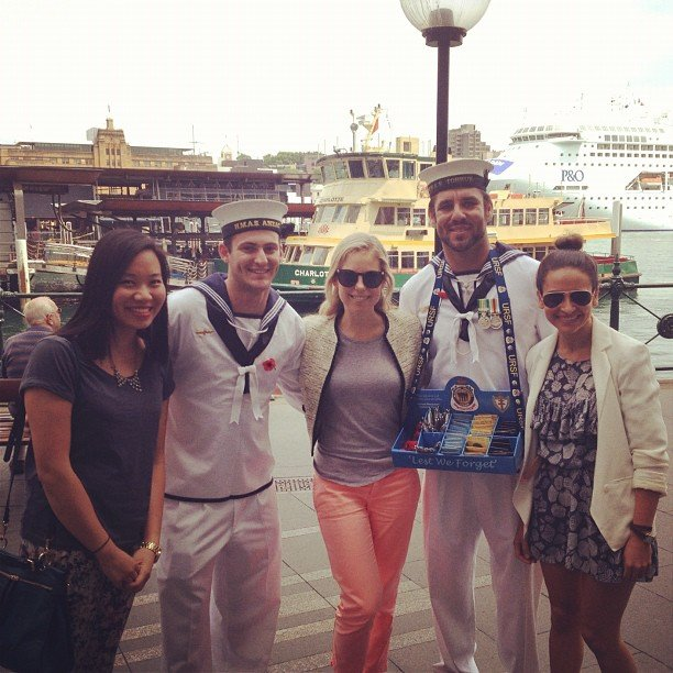When one bumps into sailors, one must take obligatory photo. We accosted these poor guys and wouldn't let 'em escape without a pic.