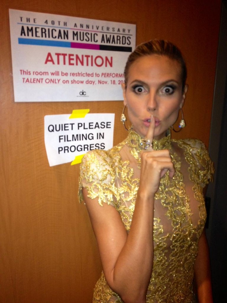Heidi Klum kept quiet while cameras were rolling. Source: Twitter user heidiklum