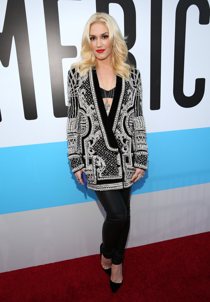 Gwen Stefani wore an embellished jacket at the American Music Awards.