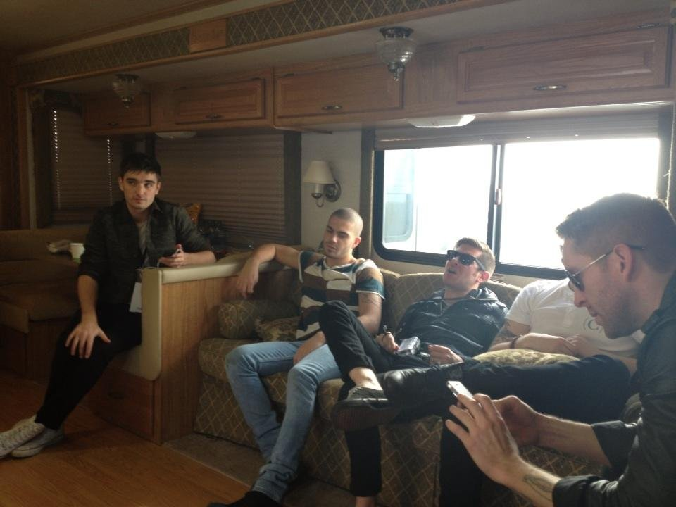 The Wanted hung out in their trailer before AMA rehearsal. Source: Twitter user thewantedmusic