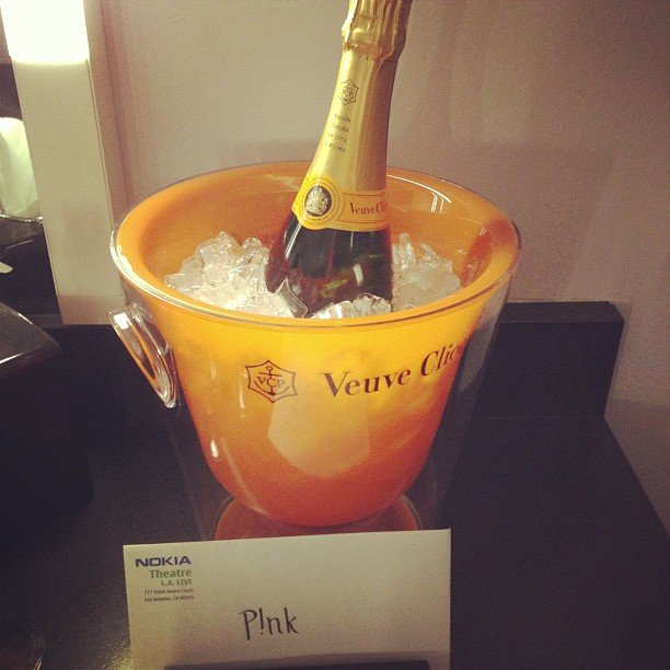 Pink found a bottle of champagne waiting in her dressing room at the AMAs. Source: Instagram user pink