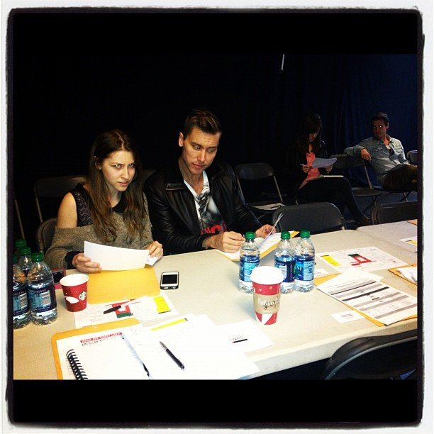 Lance Bass and Eden Sher looked over their scripts. Source: Instagram user lancebass
