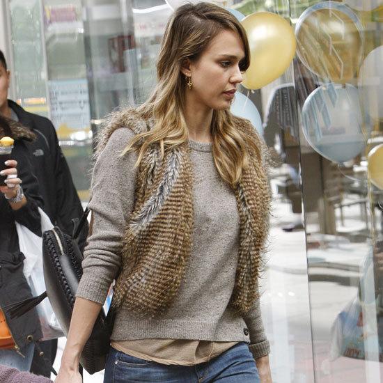 Jessica Alba Wearing a Fur Vest