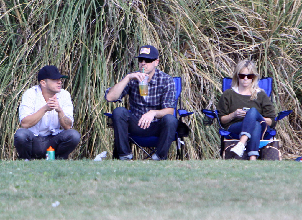 Ryan Phillippe sat on the sidelines with Reese Witherspoon and Jim Toth.