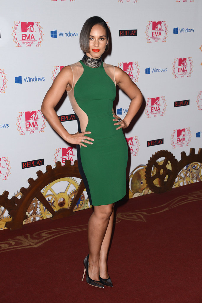 Alicia Keys stepped out in green at the MTV EMAs in Frankfurt.