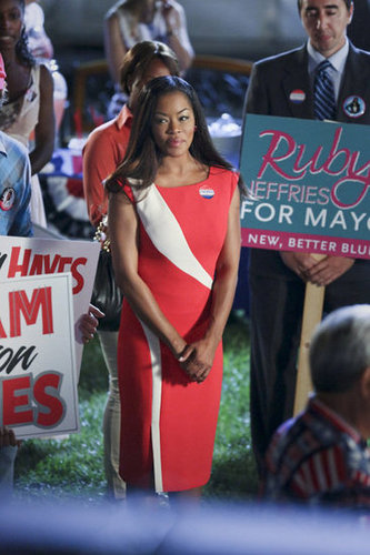 Ruby looked patriotic in a red Rachel Roy sheath dress ($219, originally $448) while awaiting the campaign results.