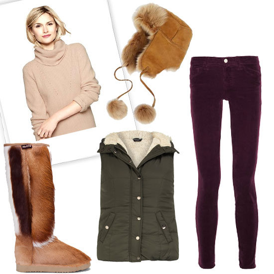 Planning on a day making snow angels and snowmen? Pair skinny corduroys with a cozy turtleneck sweater, a puffer vest, and warm boots. Shop the look:  Dorothy Perkins Olive Borg Lined Gilet ($59) Gap Pure Stitched Turtleneck ($68) Brooks Brothers Shearling Trapper ($268) J Brand Denim 511 Mid-Rise Corduroy Skinny Jeans ($175) Mou Natural Springbok Fur Prairie Boots ($300)