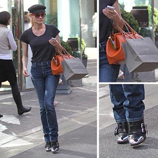 Diane Kruger Cap Toe Boots, Orange Bag, Red Sunglasses, Cap
