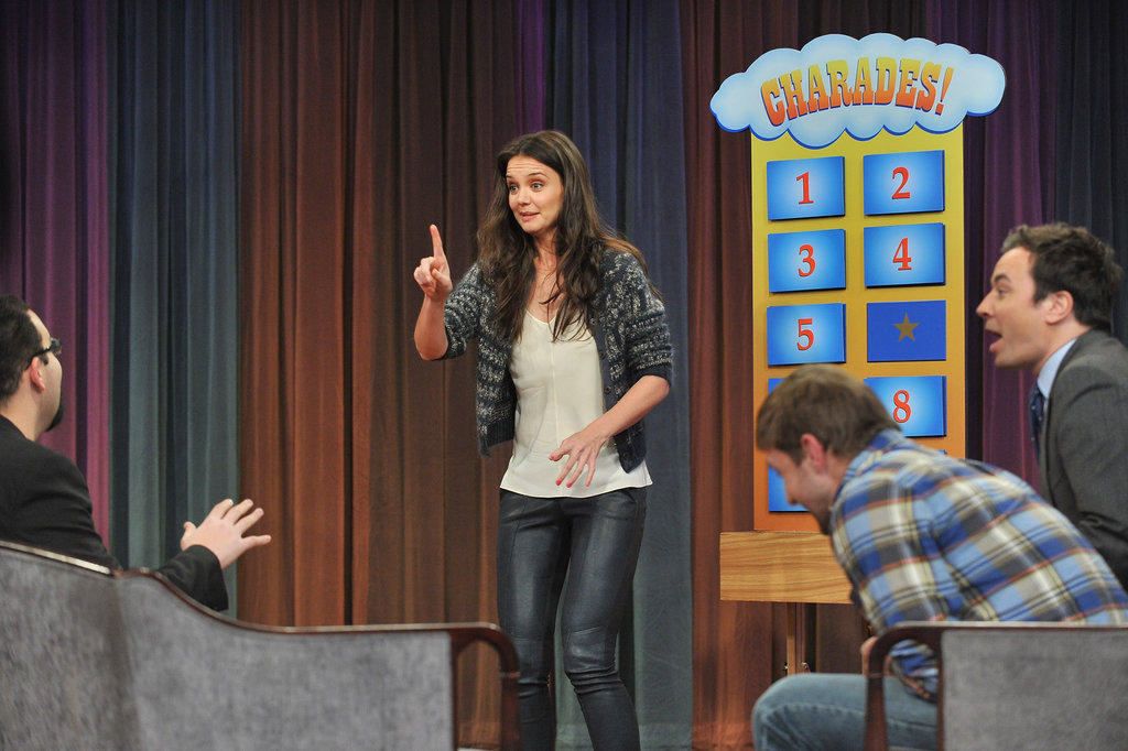 Katie Holmes got animated on Late Night With Jimmy Fallon.