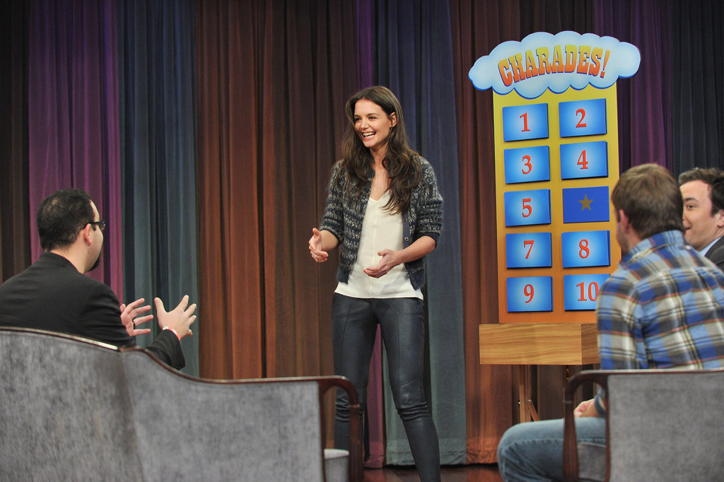 Katie Holmes had a laugh with Jimmy Fallon.