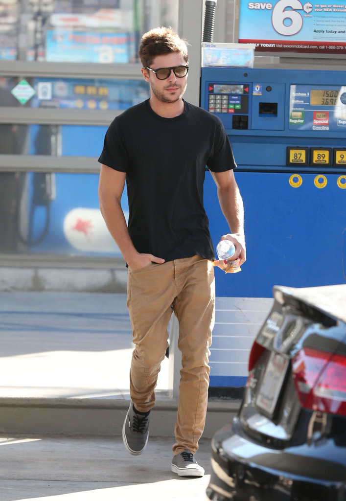 Zac Efron headed to his car.