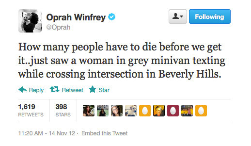 Oprah Winfrey gets serious about people driving while texting.