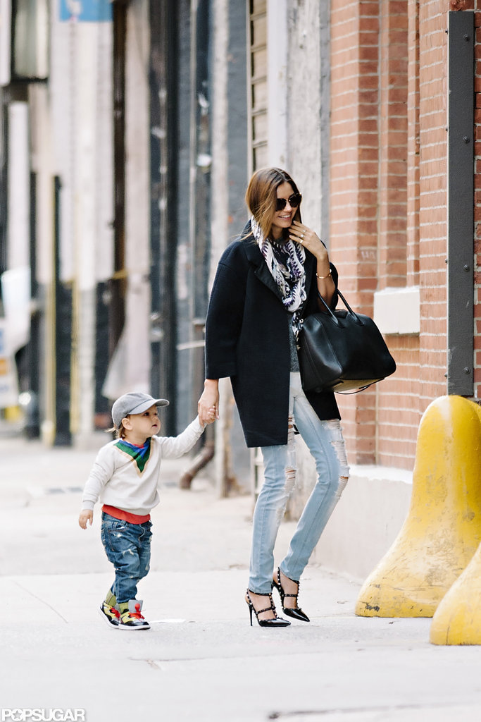 Miranda Kerr held hands with Flynn Bloom in NYC.