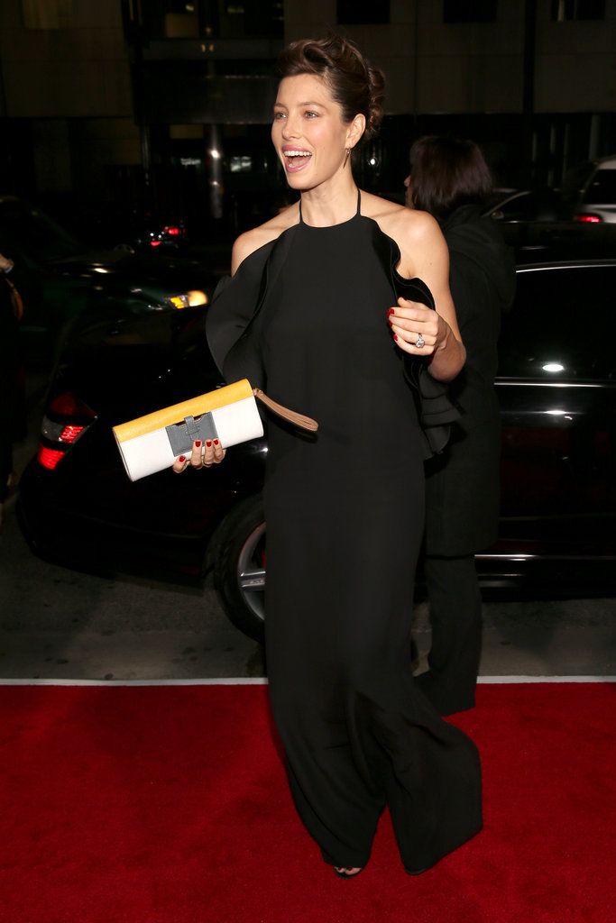 Jessica Biel arrived at the Hitchcock premiere in LA with a smile on her face.