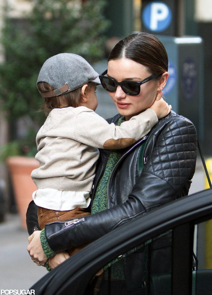 Flynn Bloom held his arms around his mom Miranda Kerr in NYC.