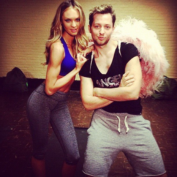 Candice Swanepoel posed with Derek Blasberg during a workout.  Source: Instagram User AngelCandice