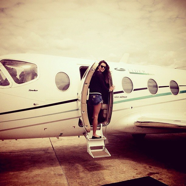 Alessandra Ambrosio took a picture of herself boarding her private plane while travelling through South America. Source: Twitter User AngelAlessandra