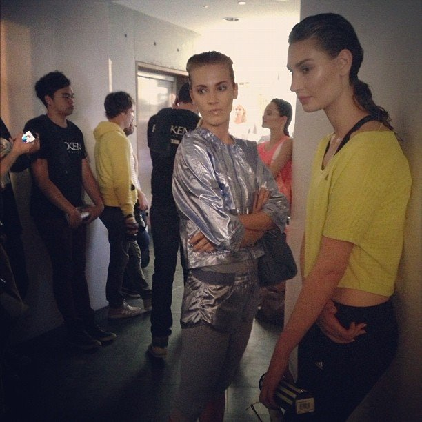 We snapped some models hanging backstage before the Adidas A/W 2013 runway started.
