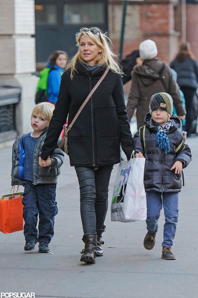 Sasha Schreiber and Kai Schreiber joined Naomi Watts for a city stroll.