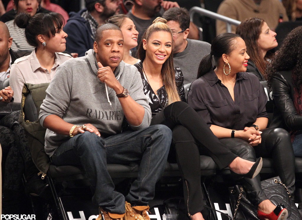 Jay-Z and Beyoncé Knowles sat courtside at the Barclays Center.