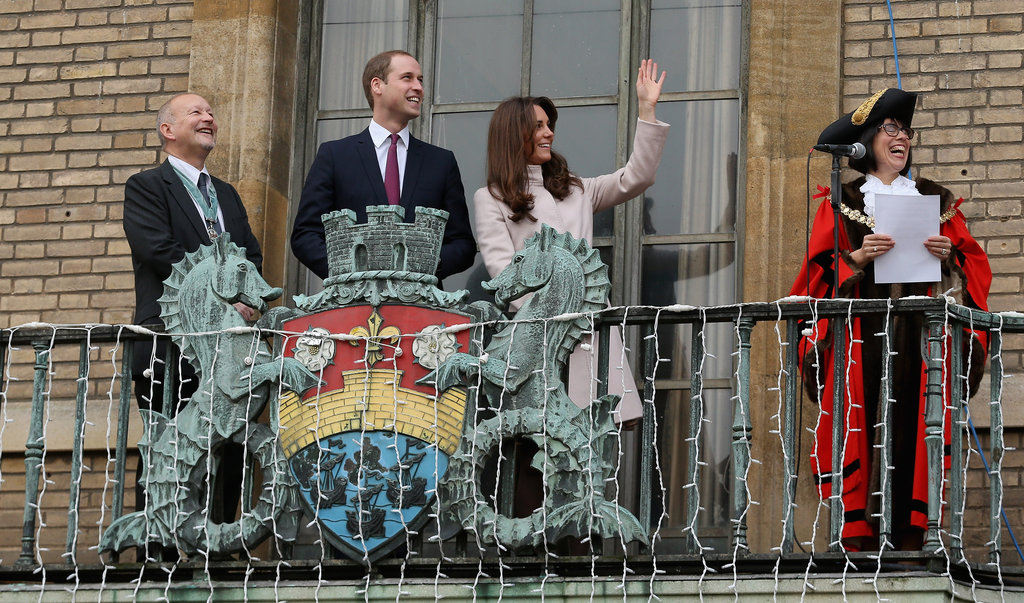 Kate Middleton and Prince William waved from a balcony together in Cambridge.