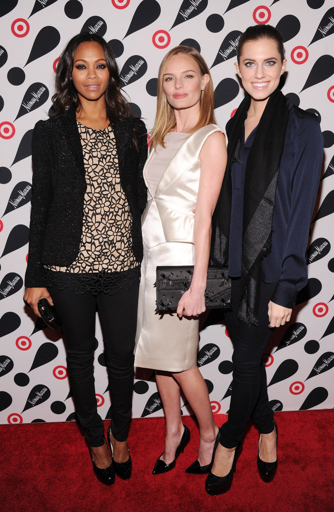 Kate Bosworth, Zoe Saldana and Allison Williams linked up at the Target and Neiman Marcus Holiday Collection event in NYC.