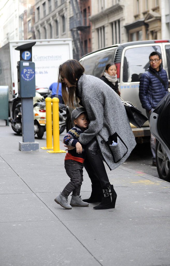 Miranda Kerr Rocks Supershort Leather and Takes Flynn Out on the Town