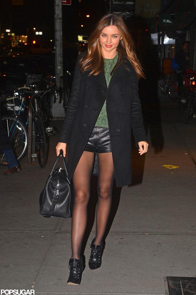 Miranda Kerr hit the streets in leather.