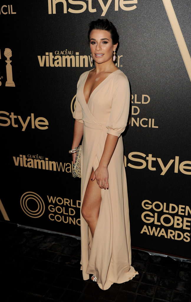 Lea Michele again showed her penchant for sultrier slit gowns with this leg-baring nude Valentino number.