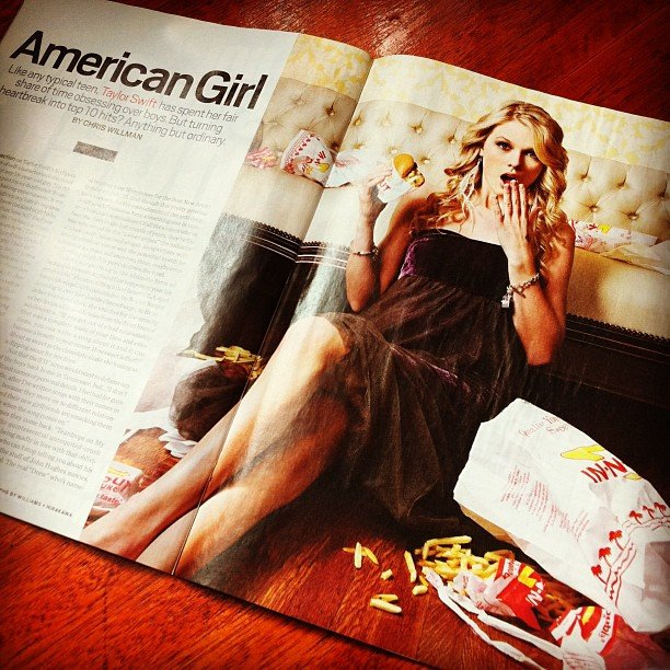 Jess bought this issue of Entertainment Weekly in America back in 2008, and in it was a profile of up-and-coming singer Taylor Swift. Cute!