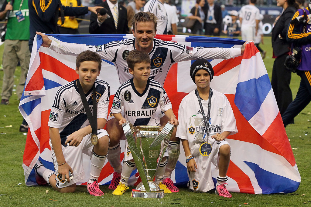 Brooklyn, Romeo, and Cruz took the field to celebrate David's MLS Cup championship win with the Galaxy in December.