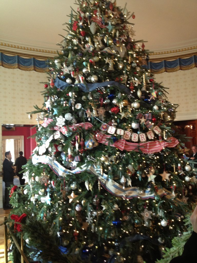 "This tree was the winner of a national contest and hailed from Jefferson, NC. Many of its ornaments were made by children from military families. The words ""Joining Forces"" are strung across the tree in tribute to veterans."