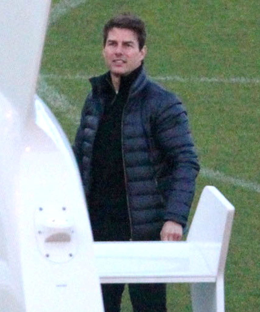 Tom Cruise also departed in a helicopter.