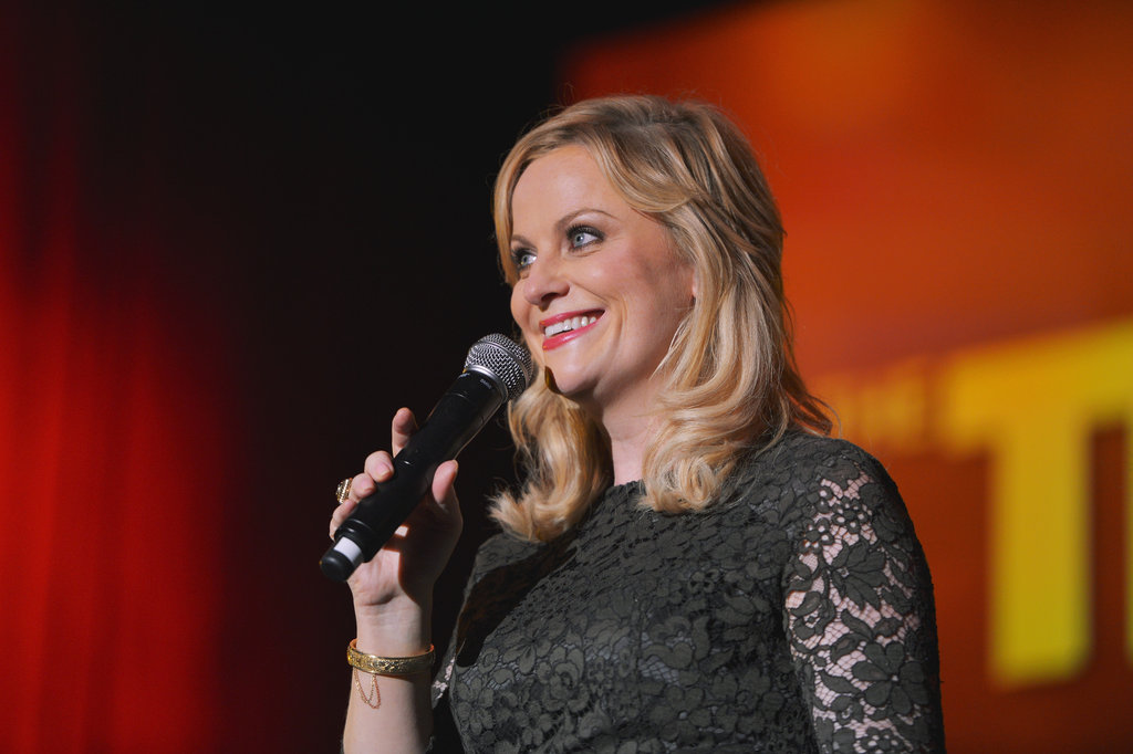 Amy Poehler wore a black lace dress in LA.