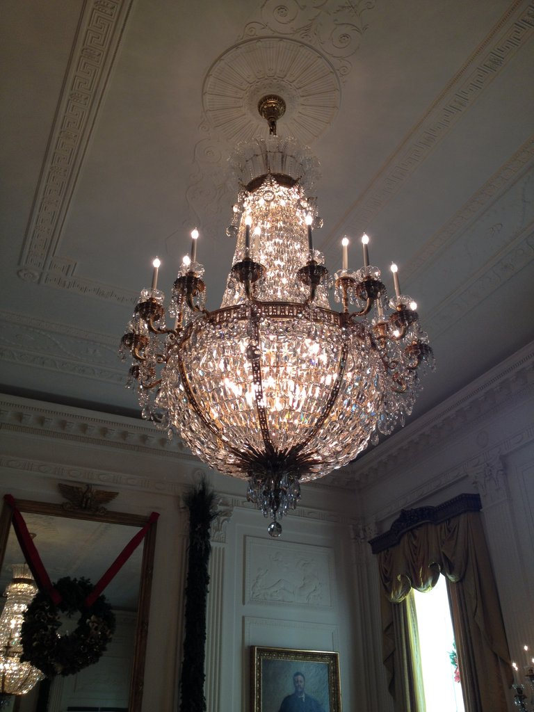 The chandeliers in the East Room were stunning.