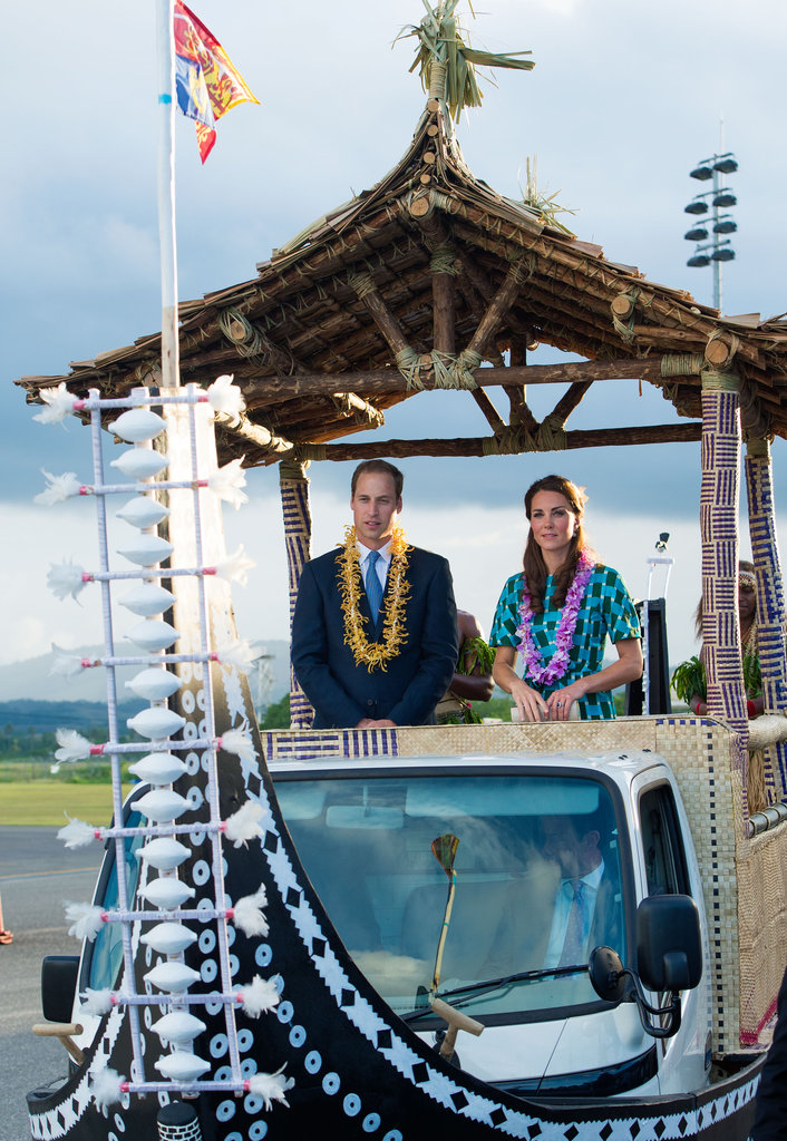 Kate Middleton and Prince William rode an open-top vehicle, shaped like a canoe, to Honiara International Airport in September.