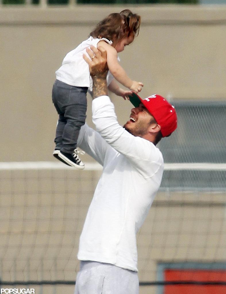 David Beckham played with Harper during Cruz's LA soccer match in September.