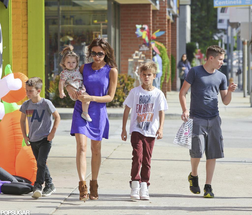 Victoria Beckham took her kids Halloween shopping around LA in October.