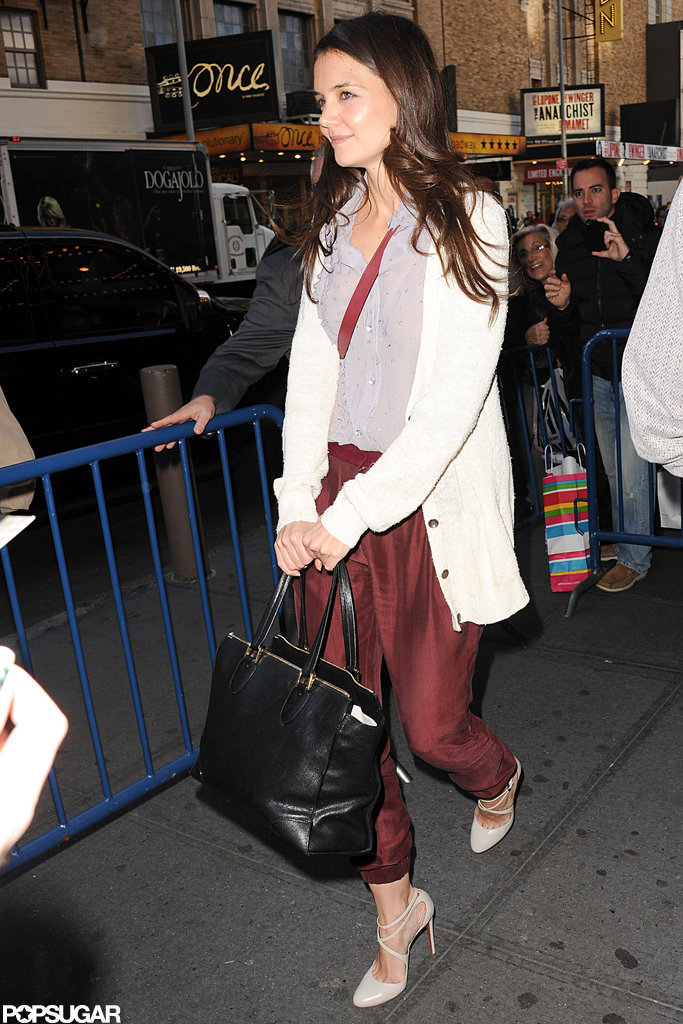 Katie Holmes stopped to say hi to fans.