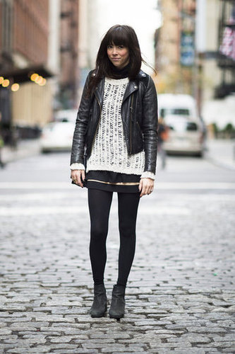 Give your edgy leather a warm, textural counterpart with a woven knit. Source: Adam Katz Sinding