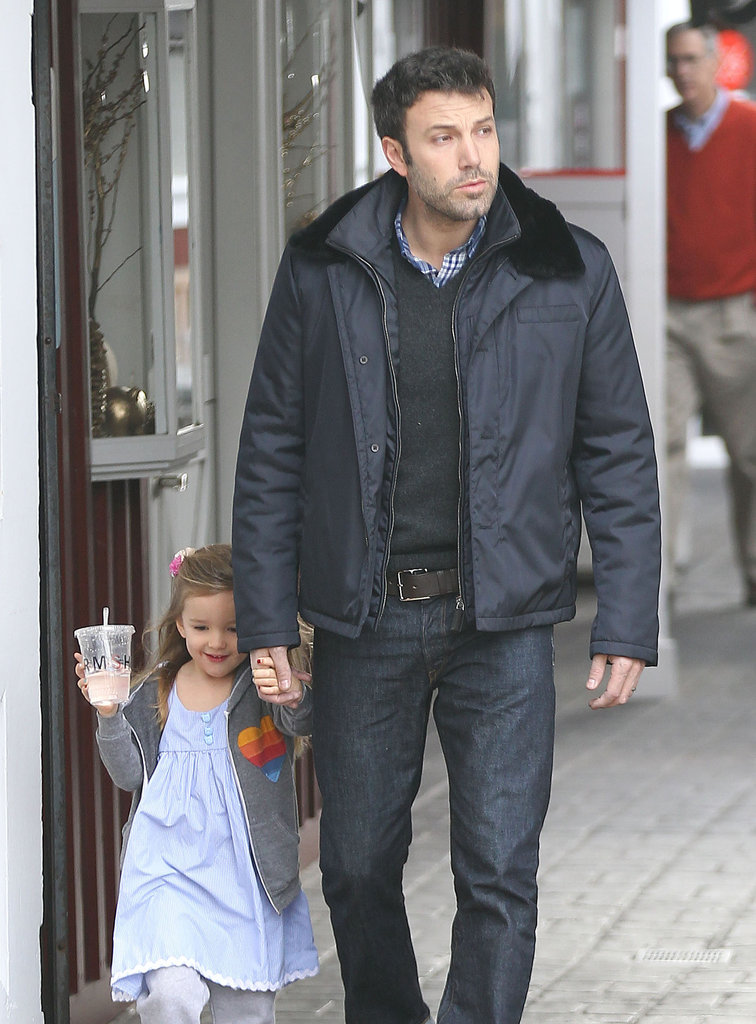 Seraphina Affleck held on tight to her dad Ben Affleck's hand as they grabbed breakfast in Bentwood, CA.